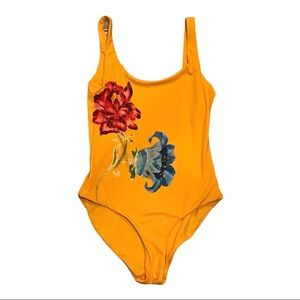 Onia Kelly One Piece Swimsuit Yellow Floral Medium